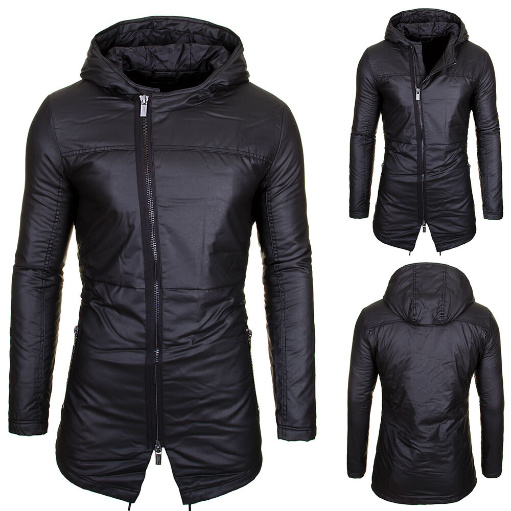jacke herren mantel parker parka winterjacke schwarz kapuze stepp winter outdoor ebay. Black Bedroom Furniture Sets. Home Design Ideas
