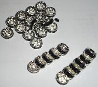 30 Pcs Silver Plated Black Rhinestone Crystal Spacer Beads