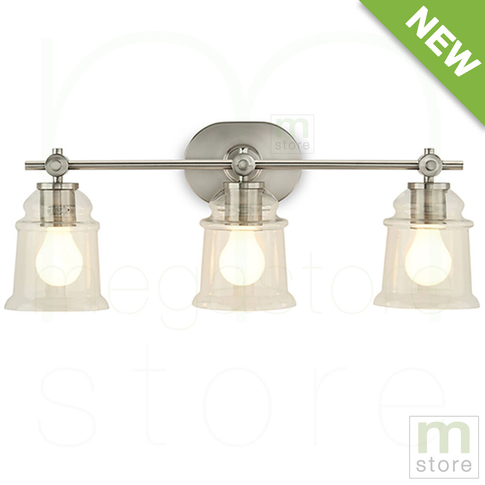 Bathroom vanity 3 light fixture brushed nickel bell wall for Bathroom 3 light fixtures