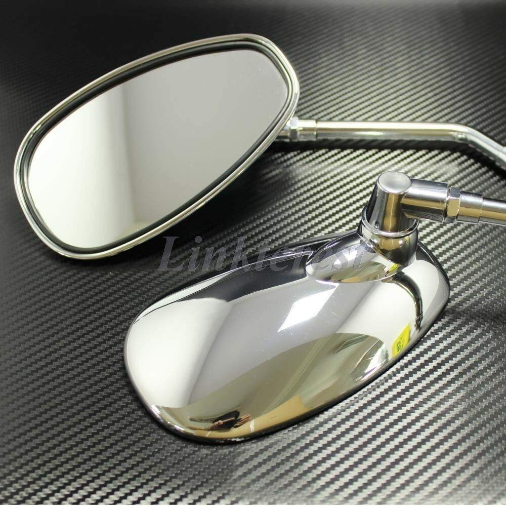 Chrome Motorcycle Oval Rearview Mirrors Long Stem For