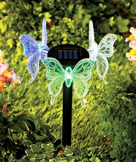 3 sided solar lighted butterfly hummingbird yard stake for Outdoor butterfly decor