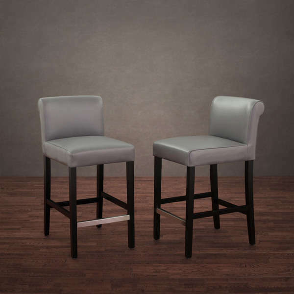 Set Of 2 Charcoal Leather Counter Height Stool Bar Kitchen