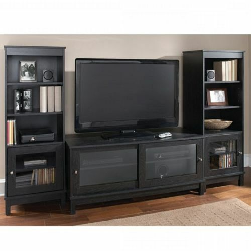 Home Entertainment Center Tv Stand Shelves Wood Media Console 2 Side