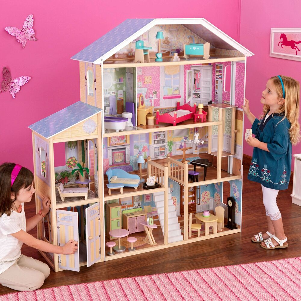 new kidkraft majestic mansion doll house large furniture kids play fits barbies ebay. Black Bedroom Furniture Sets. Home Design Ideas