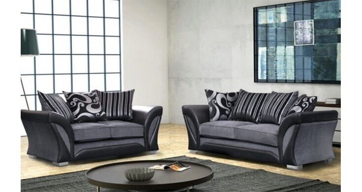 New farrow leather fabric 3 2 seater brown beige black for Black and grey sofa