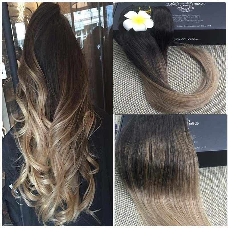 Full Head Balayage Ombre Clip In Remy Human Hair