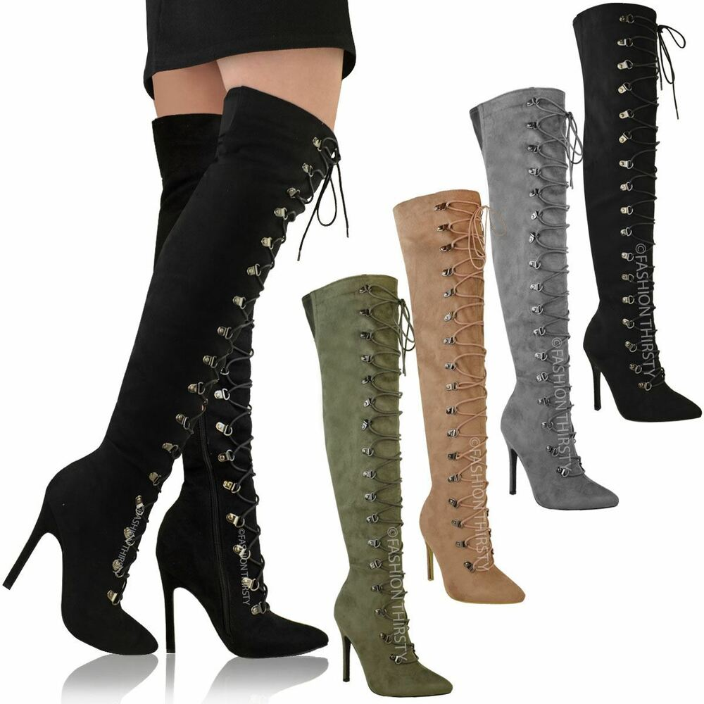 Bebe Thigh High Lace Up Boots