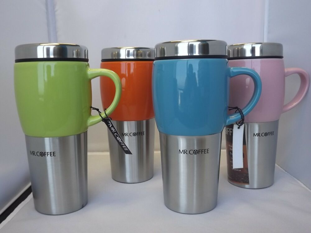 mr coffee ceramic stainless steel insulated travel mug 16 oz limited colors ebay. Black Bedroom Furniture Sets. Home Design Ideas