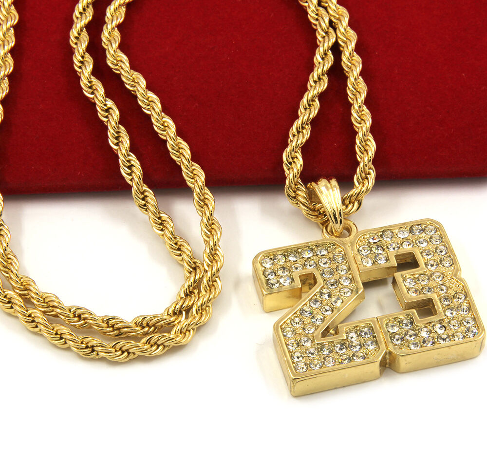 mens gold iced out 23 basketball pendant 24 rope chain. Black Bedroom Furniture Sets. Home Design Ideas