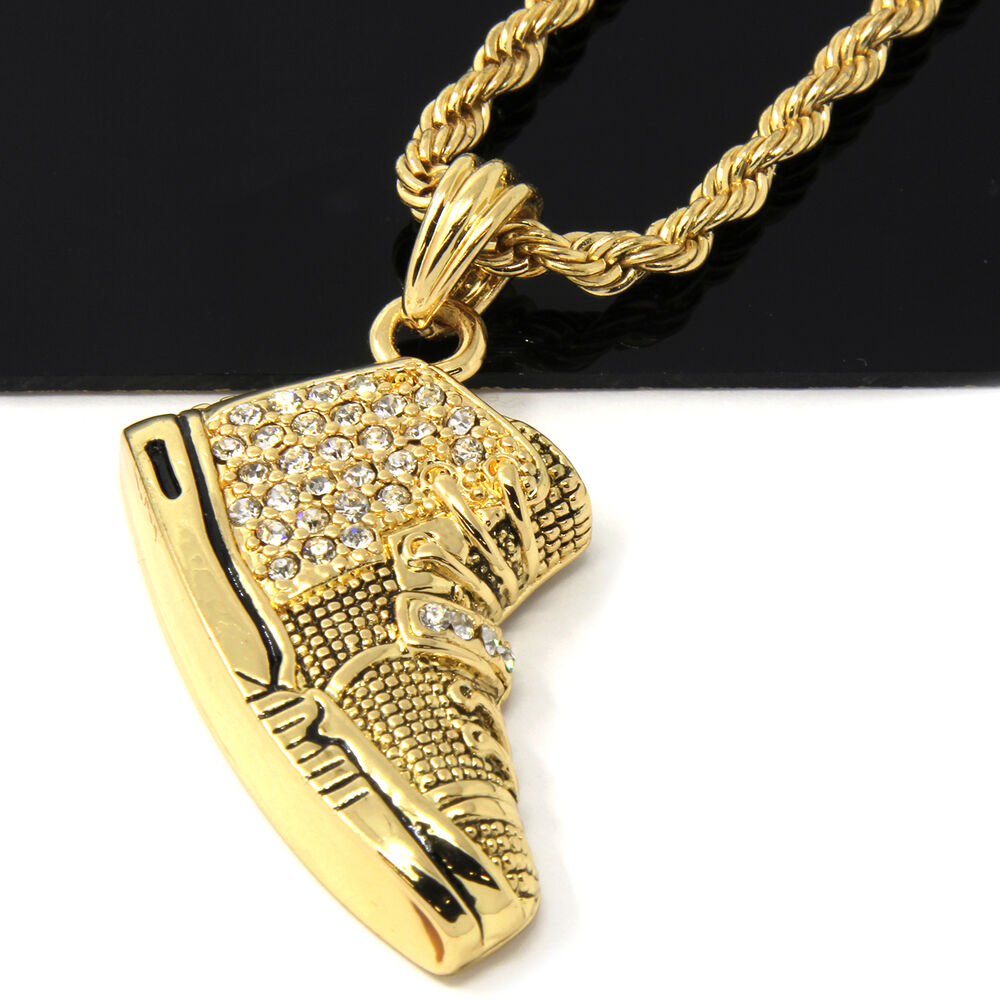 mens gold iced yeezy 350 sneakers pendant 24 u0026quot  rope chain hip hop necklace d487
