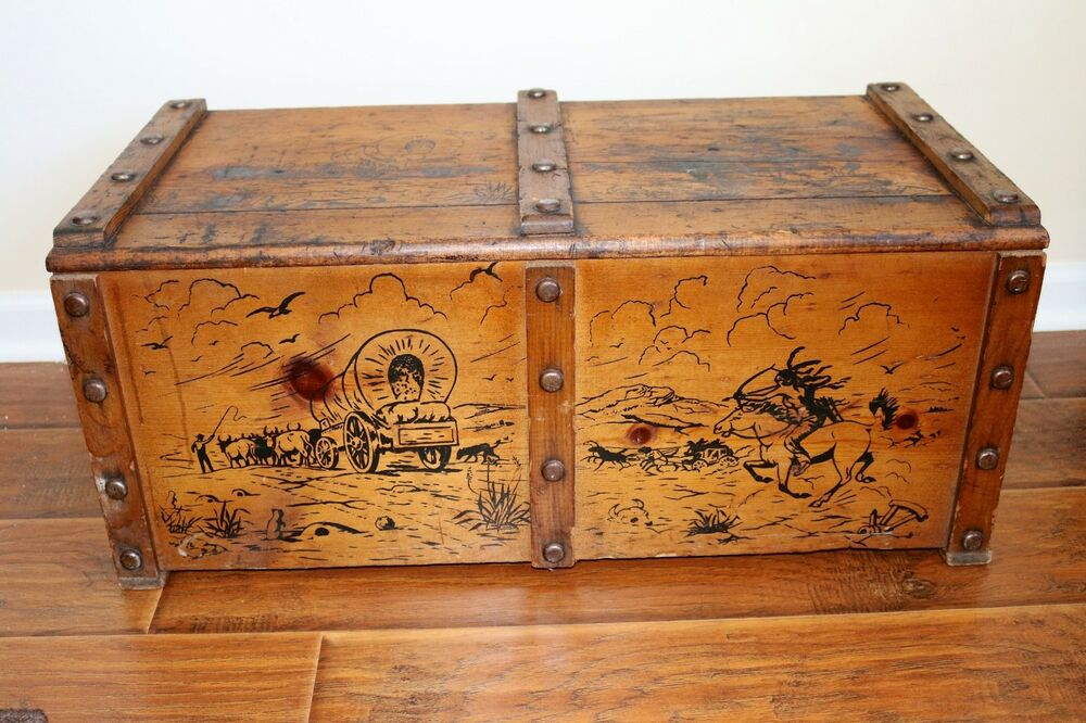 Wooden Chest Hardware ~ Vintage cowboy indian western toy box wood wooden