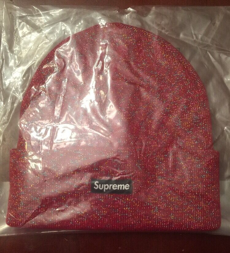 df6b03a41b6 Supreme Red Tinsel Beanie - New (100% Authentic)