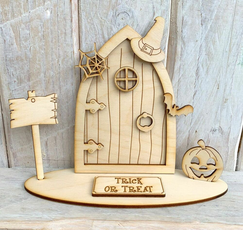 Christmas elf fairy door with stand wooden craft kit blank for Wooden fairy doors to decorate