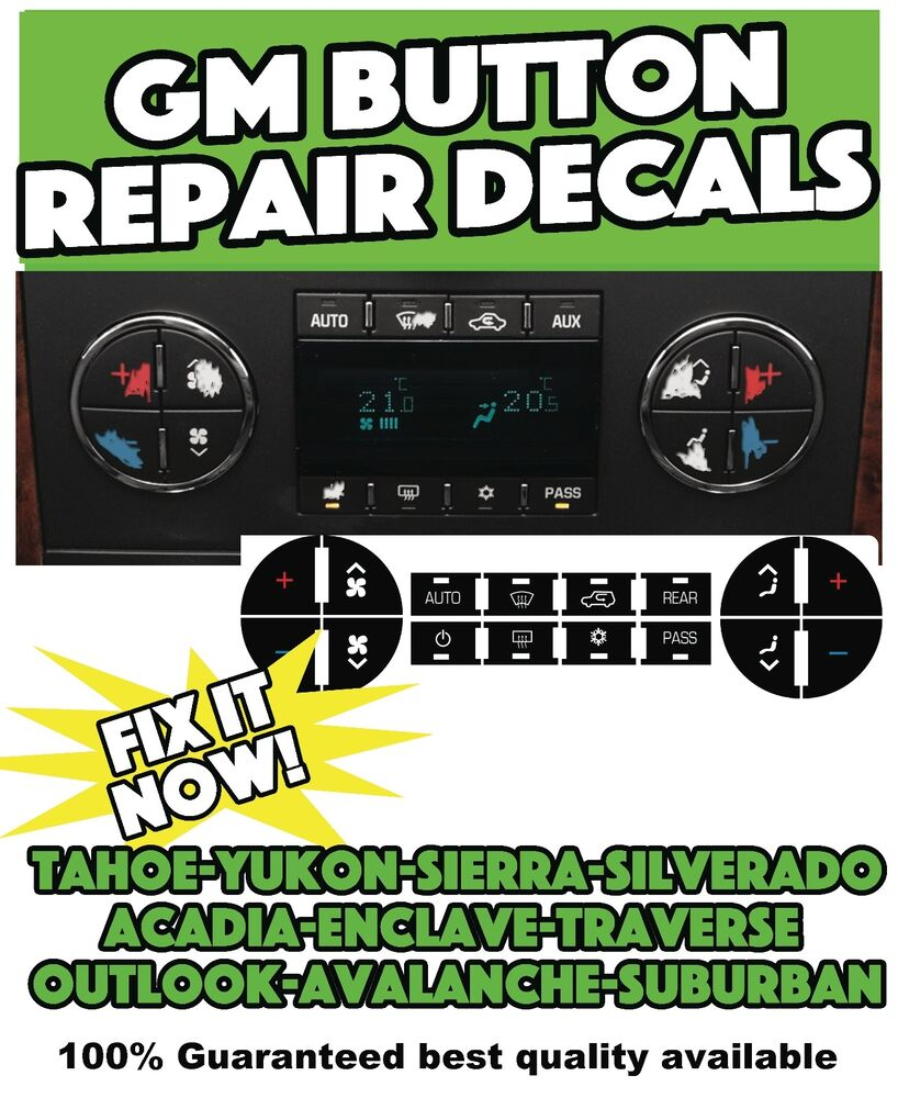Gm Gmc Traverse Yukon Acadia Tahoe Ac Buttons Set Of