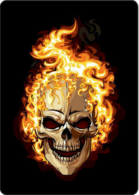 816 2 2 Quot Custom Flaming Skull Decal Motorcycle Sticker