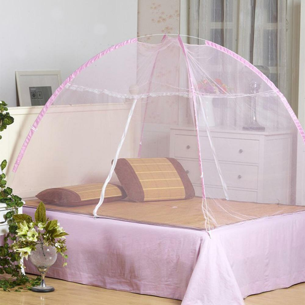 Folding mosquito net tent style pop up canopy curtains for Bed decoration with net