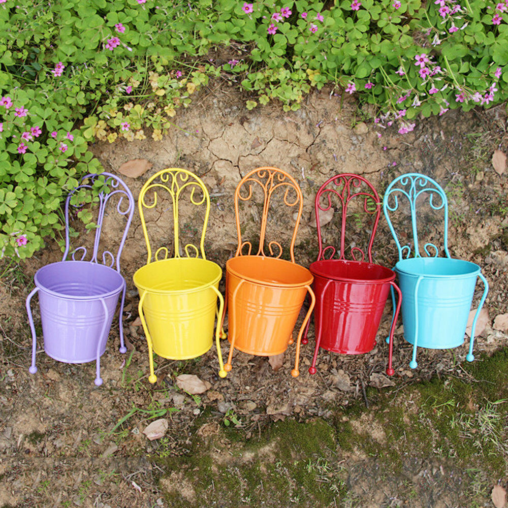 Colorful metal iron flower pots hanging balcony garden for Colorful hanging planters