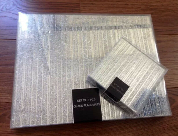 Set of 4 sparkle glass glitter placemats 4 coasters for Glass table placemats