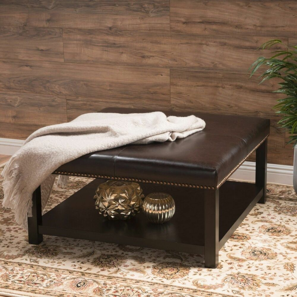 Contemporary Wooden Ottoman ~ Kelapith contemporary leather ottoman brown bench w rack
