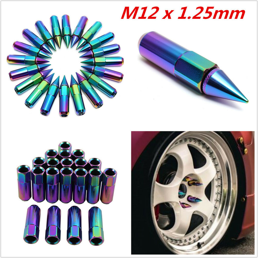 m12x1 25 neo chrome spiked extended tuner lug nuts wheels rims for nissan subaru 4683812323725