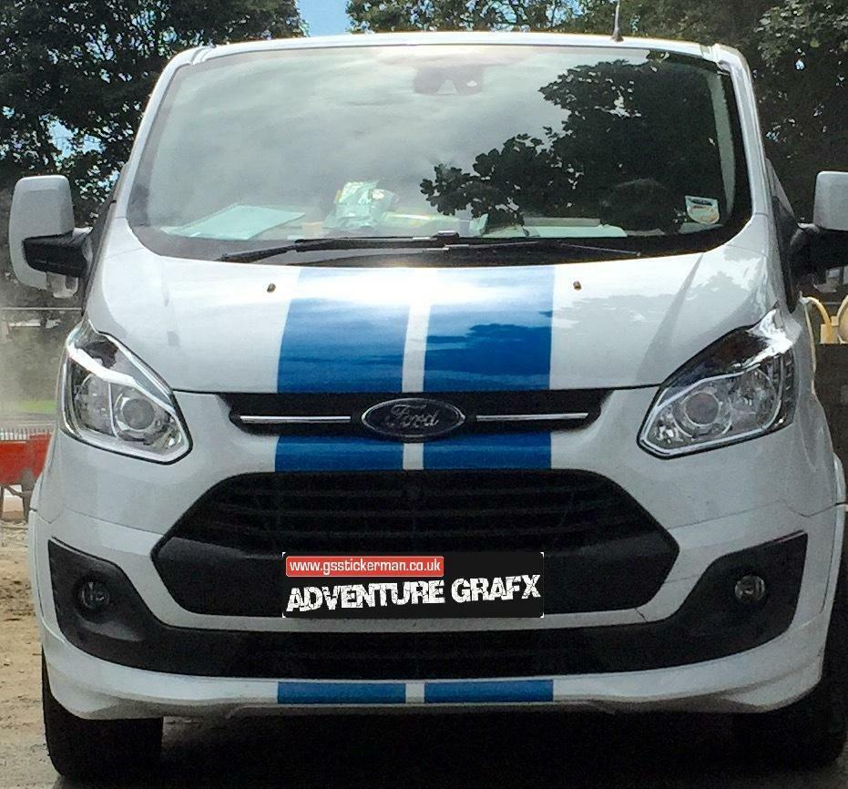 pre cut ford transit custom bonnet stripes decals stickers graphics ebay. Black Bedroom Furniture Sets. Home Design Ideas