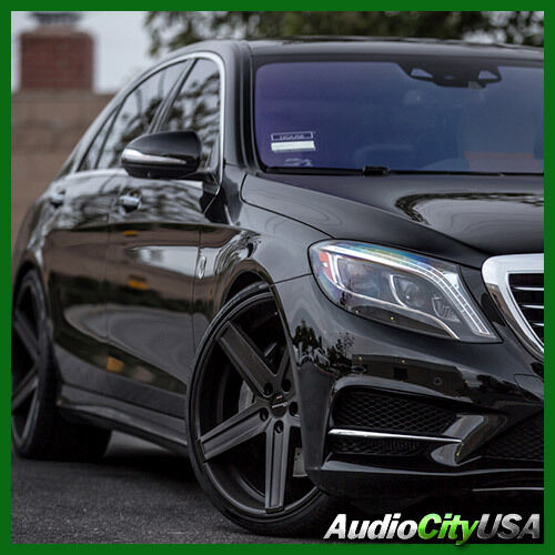 22 giovanna wheels dramuno 5 black staggered rims 5x112 for Mercedes benz staggered wheels