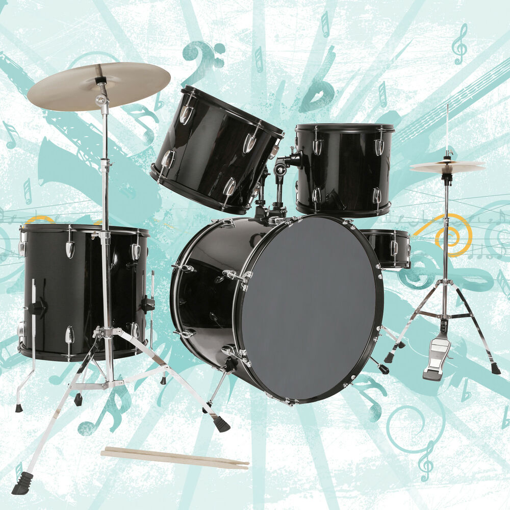 black 5 piece complete adult drum set cymbals full size kit with stool sticks 699996850777 ebay. Black Bedroom Furniture Sets. Home Design Ideas