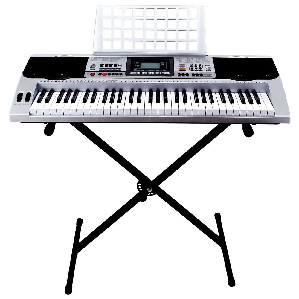 61 key music digital electronic keyboard electric piano organ w stand silver ebay. Black Bedroom Furniture Sets. Home Design Ideas