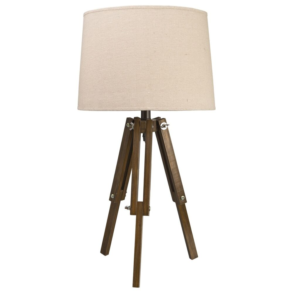 nautical vintage style tripod table lamp natural light shade dark wood legs new ebay. Black Bedroom Furniture Sets. Home Design Ideas