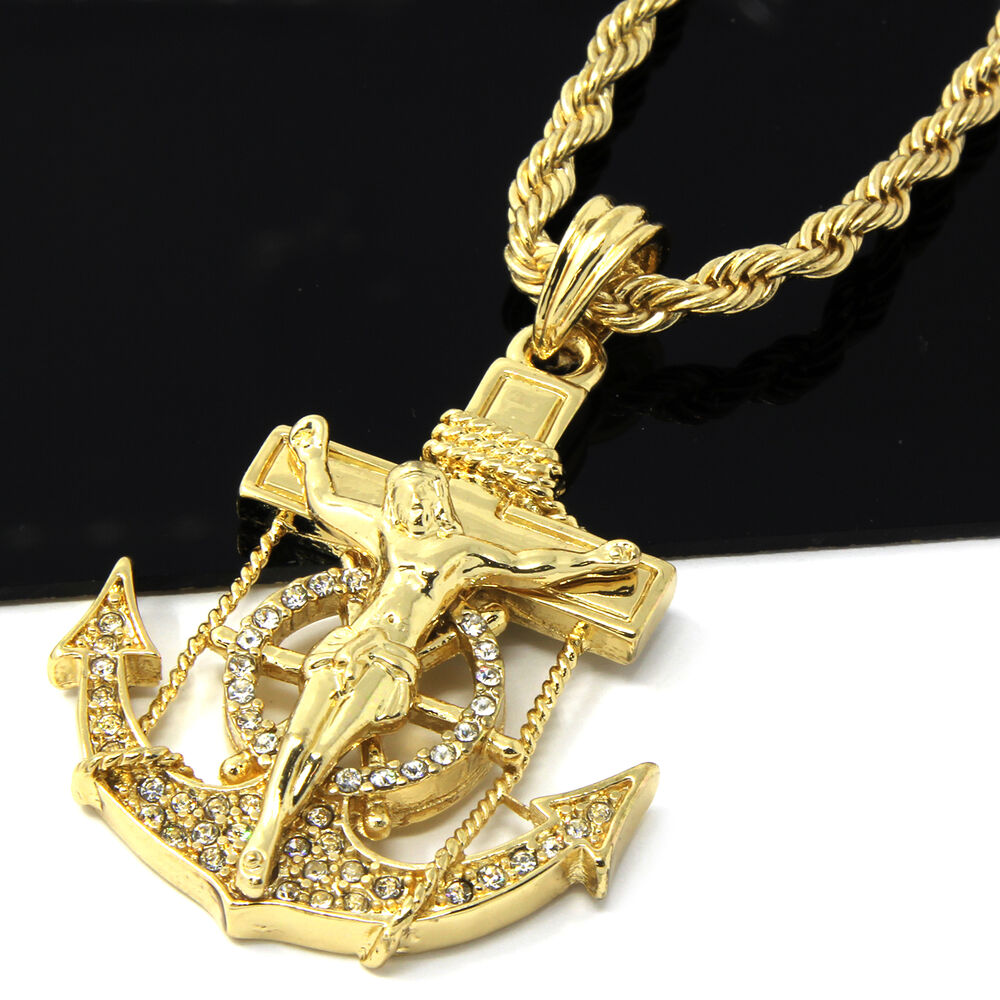 Mens Gold Iced Out Cz Anchor Jesus Pendant 24 Quot Rope Chain