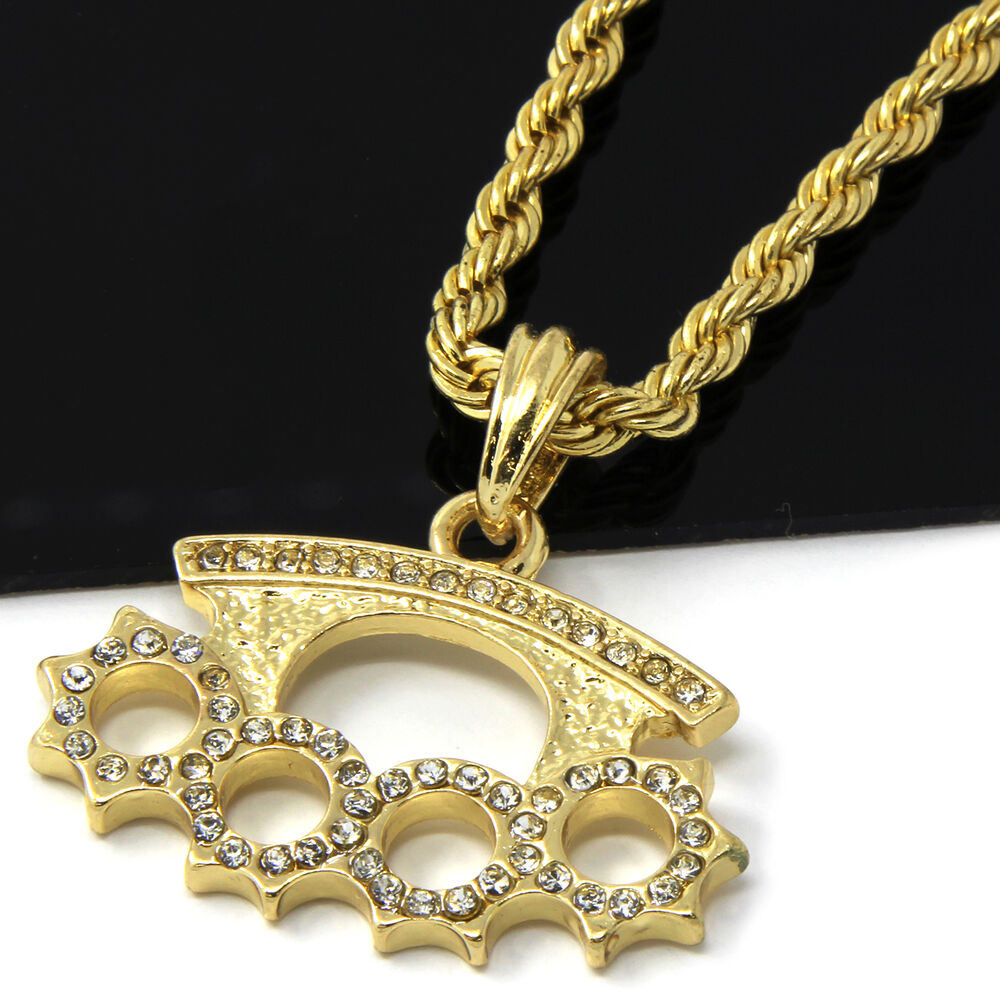mens gold iced cz knuckle duster pendant 24 rope chain. Black Bedroom Furniture Sets. Home Design Ideas