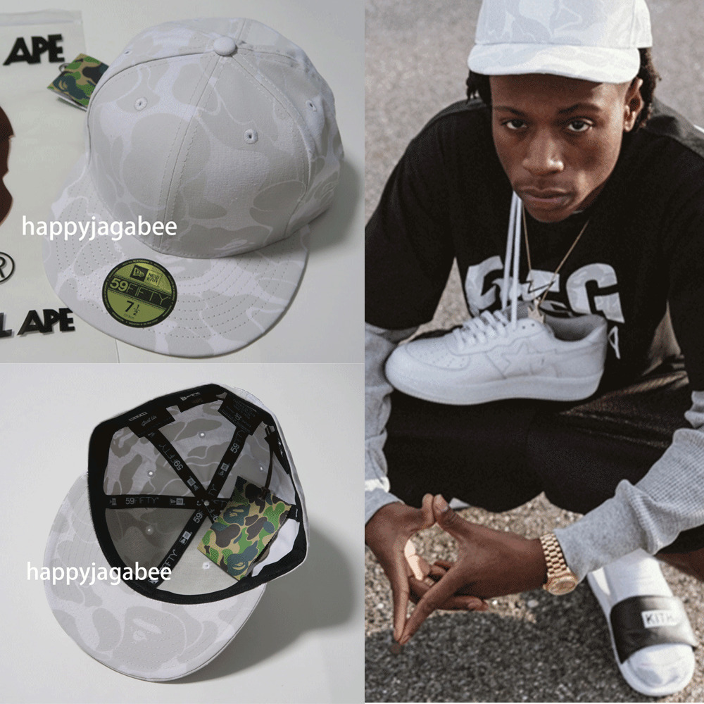 A BATHING APE Men s BAPE x RONNIE FIEG KITH NEW ERA 59fifty CAP 71 2  White New  69ccbcfd3997