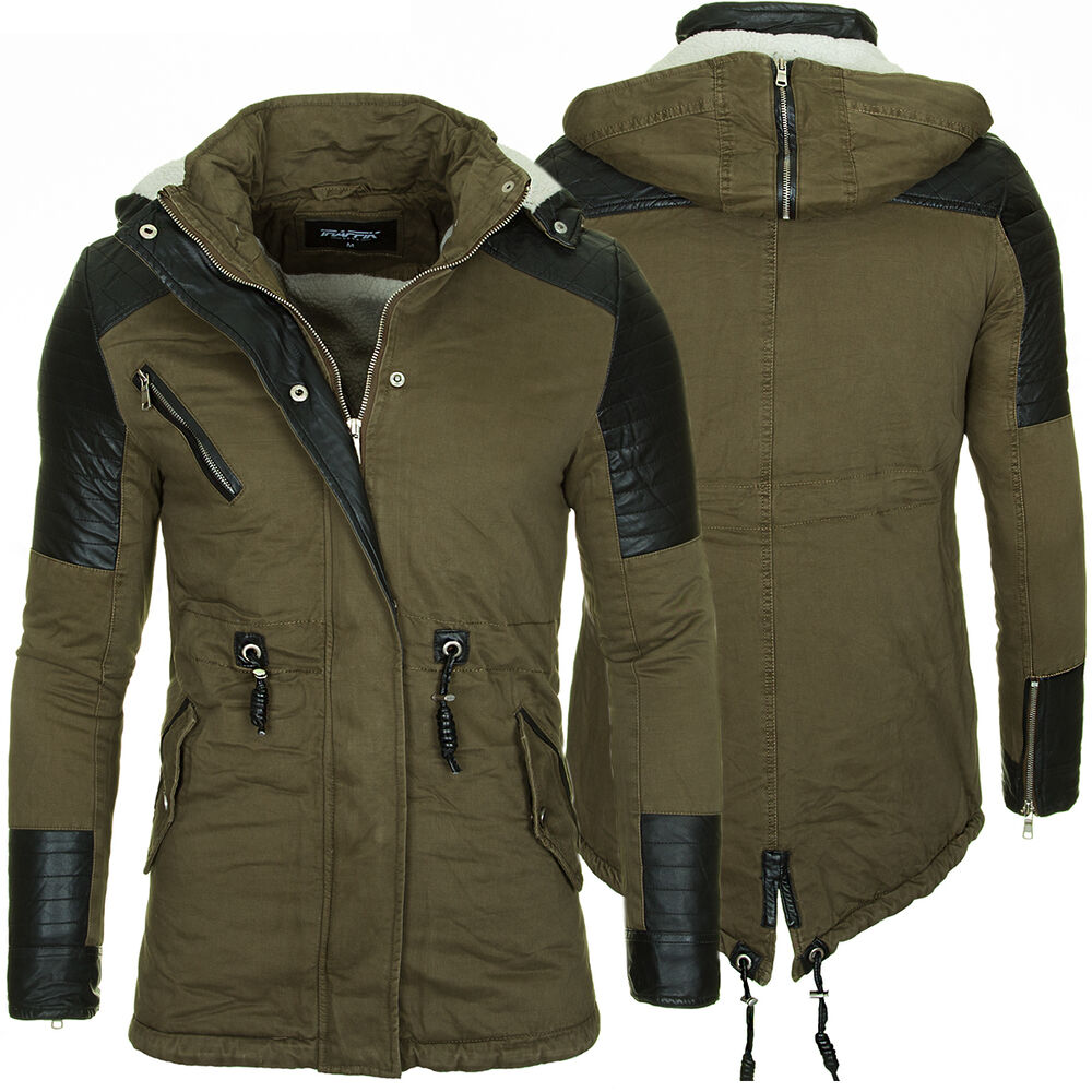 jacke herren mantel parka parker winterjacke khaki kapuze. Black Bedroom Furniture Sets. Home Design Ideas