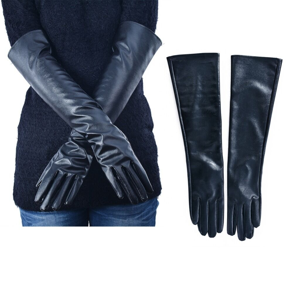 Women Lady Winter Long Leather Gloves Touchscreen Elbow ...