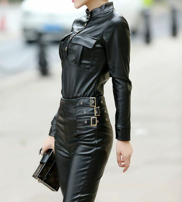 Womens Jacket Evening Leather Club High Rise Pants Casual Suit Stand Collar Sex  Ebay-3724