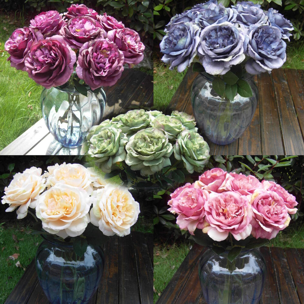 Multicolor phantom rose peony top silk flowers bouquet