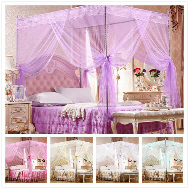 no frame lace canopy mosquito net princess bedding for twin full queen king size ebay. Black Bedroom Furniture Sets. Home Design Ideas