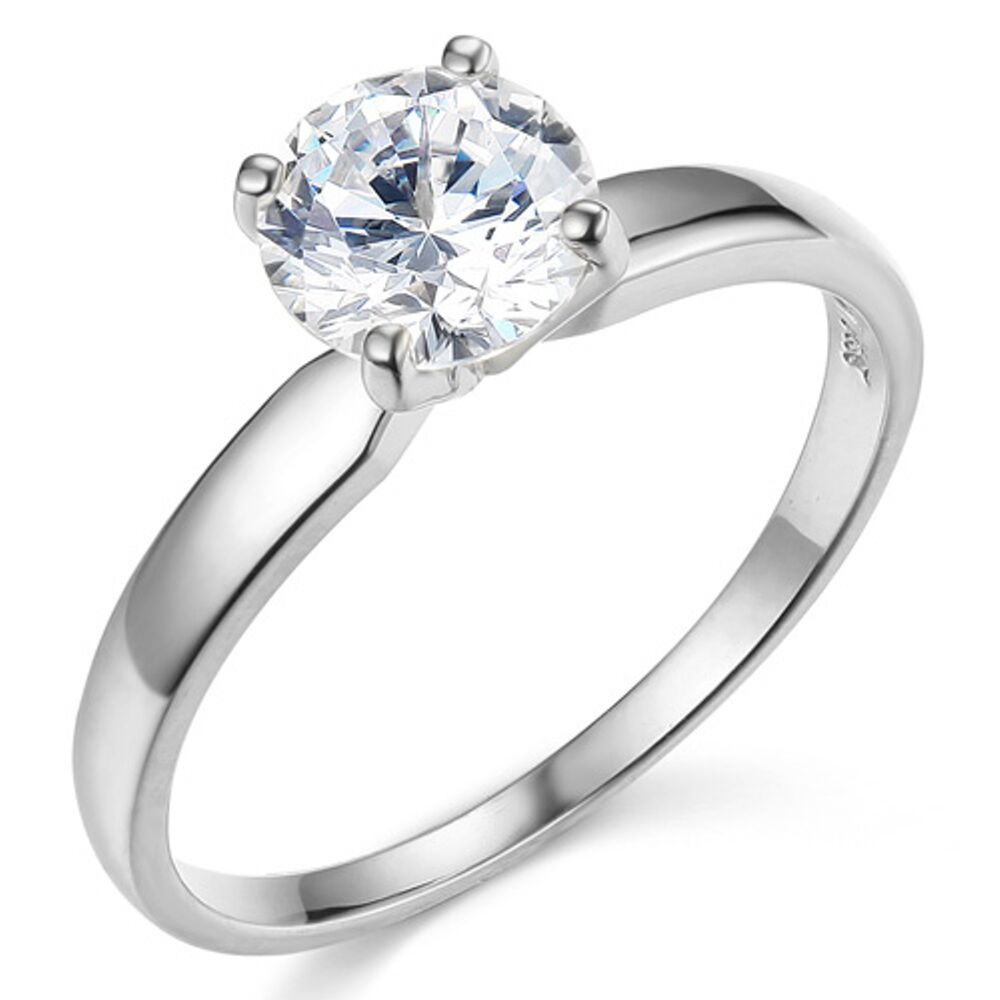 ct round brilliant cut solitaire engagement ring real. Black Bedroom Furniture Sets. Home Design Ideas