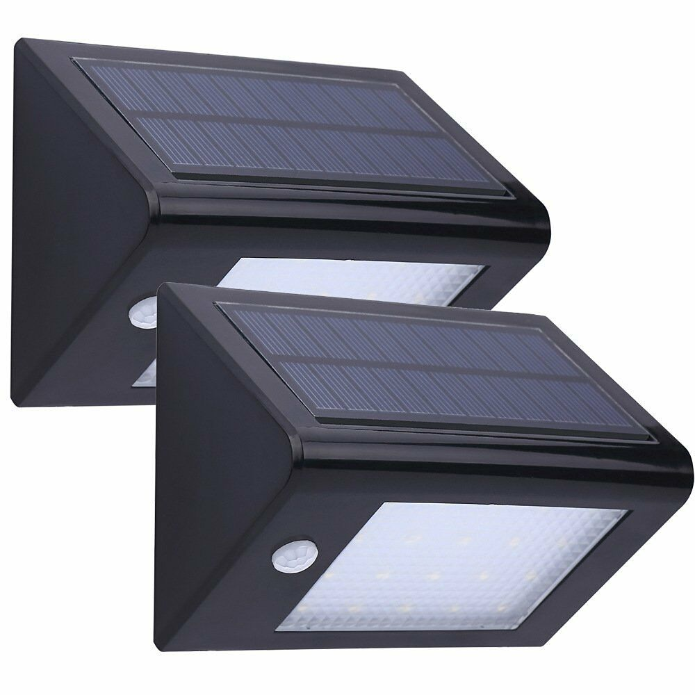 2x solarlampe au en wandleuchte solarstrahler bewegungsmelder 20led sensor licht ebay. Black Bedroom Furniture Sets. Home Design Ideas