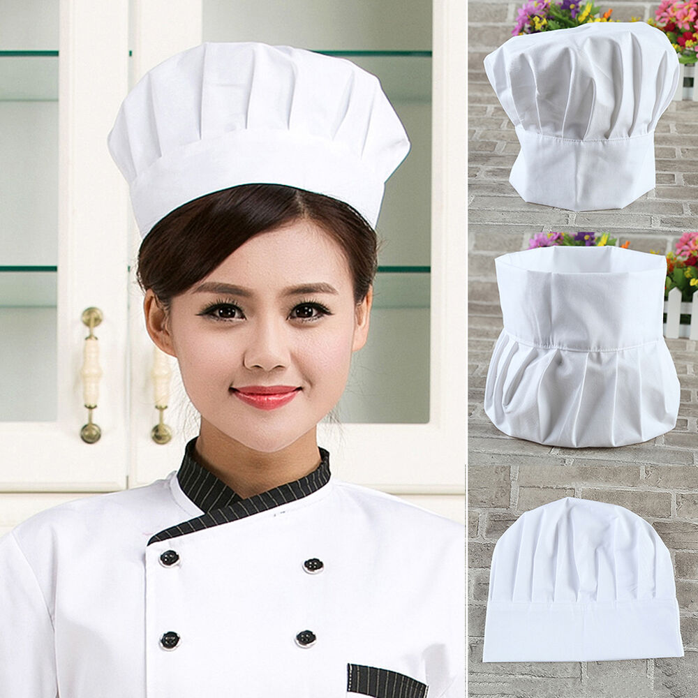 2016 Adult Elastic White Chef Hat Baker BBQ Kitchen