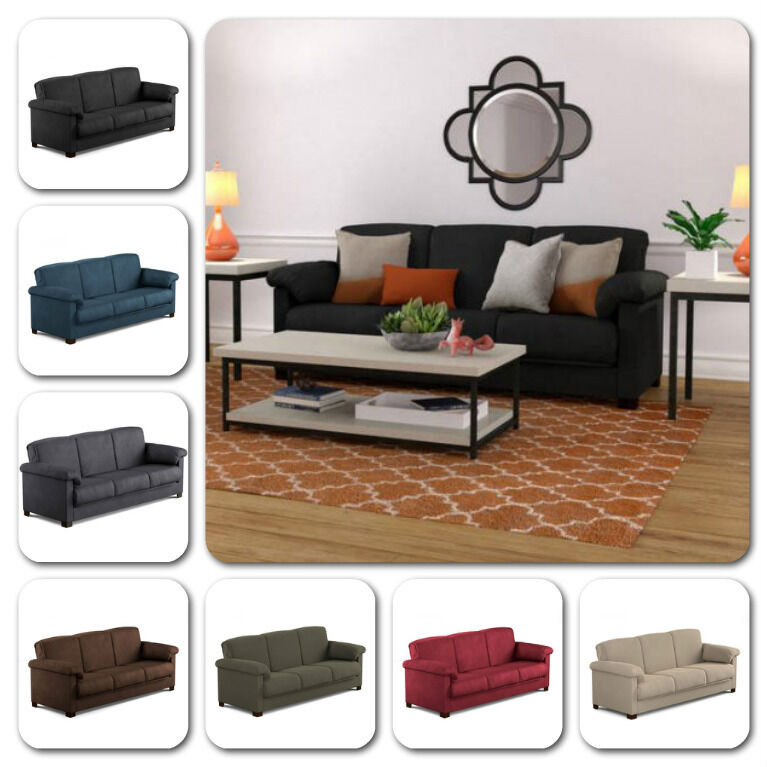 Sofa microfiber couch convertible bed modern comfortable sleeper storage space ebay - Small space convertible furniture image ...