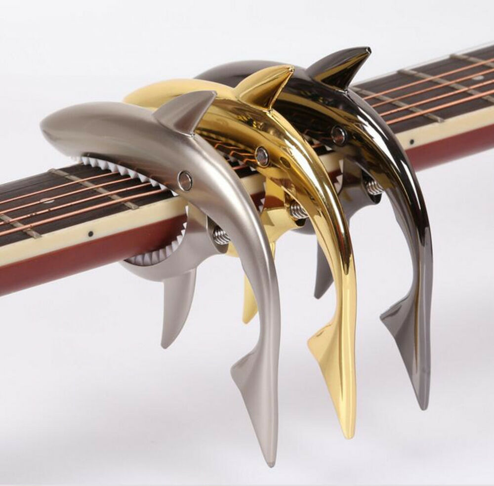 shark capo for electric acoustic guitar folk guitar capo guitar accessories ebay. Black Bedroom Furniture Sets. Home Design Ideas