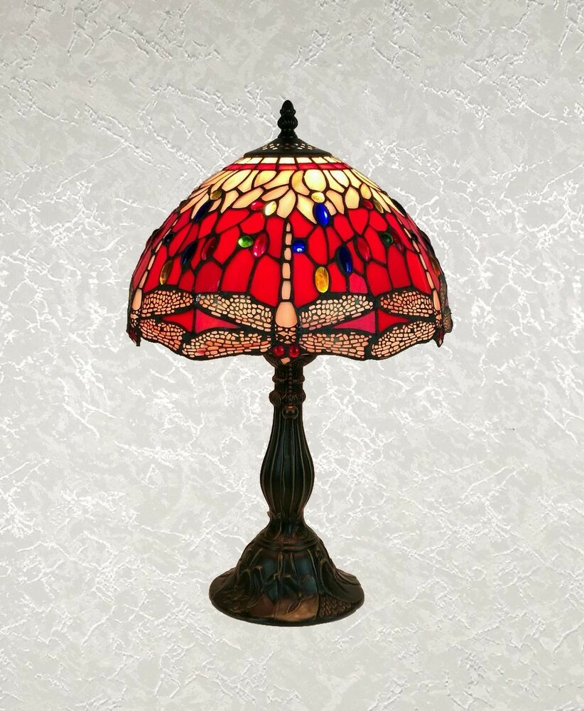Stained Glass Lamp Shades For Table Lamps : Tiffany style red multi color stained glass dragonfly