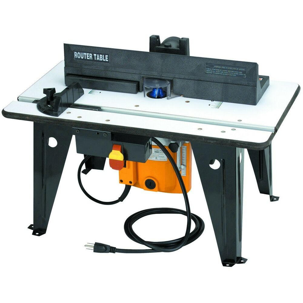 chicago electric benchtop plunge router table 1 3 4 hp router tabletop tool ebay. Black Bedroom Furniture Sets. Home Design Ideas