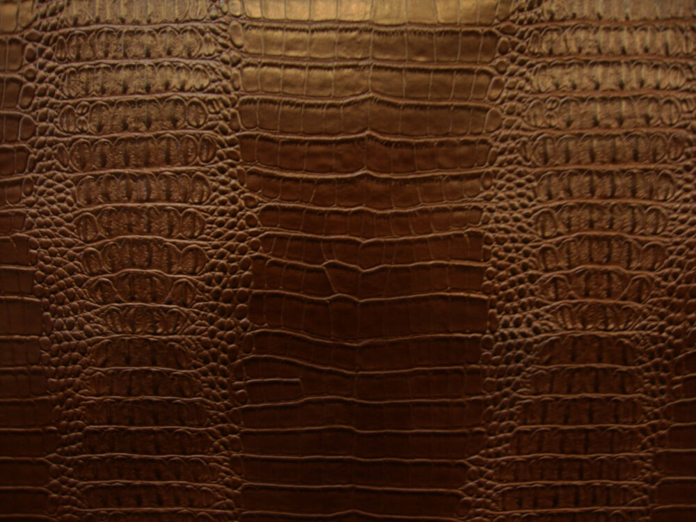 Brown viny fake leather crocodile nile embossed faux for Fake leather upholstery