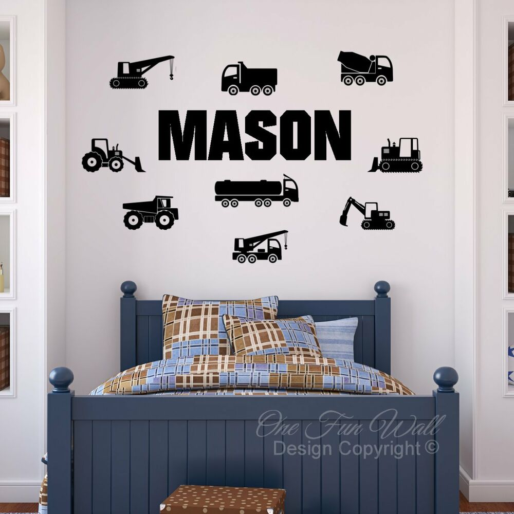 Personalized Bedroom Wall Decor : Personalized name construction trucks bedroom vinyl wall