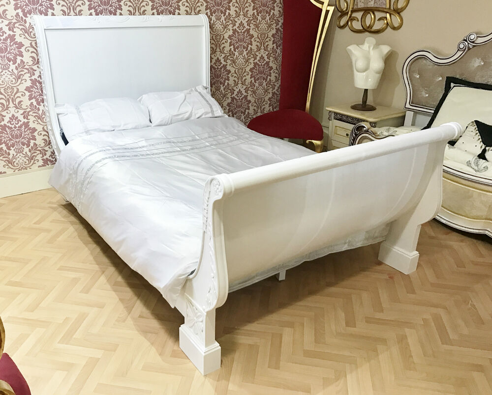 french bed wooden double white 4ft6 frame carving shabby chic hand antique ebay. Black Bedroom Furniture Sets. Home Design Ideas
