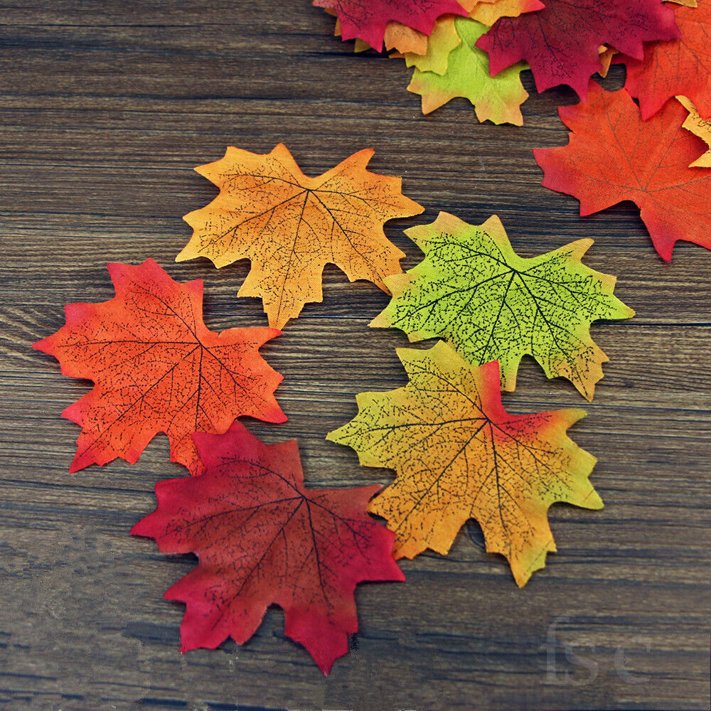 5x100 artificial maple leaf garland silk autumn fall for Artificial leaves for decoration