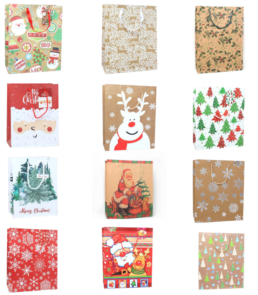 Christmas Gift Packing: Pack Of 12 Christmas Gift Bags Festive Wrapping Christmas