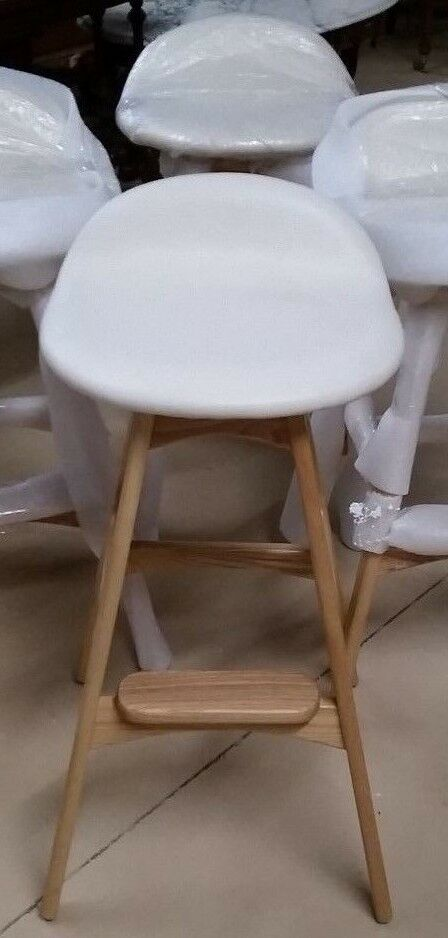 Set Of 2 Mid Century Modern Danish Bar Stools Solid Wood